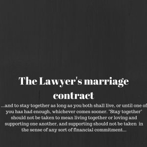 The Lawyer's marriage contract