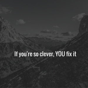 IF YOU'RE SO CLEVER, YOU FIX IT